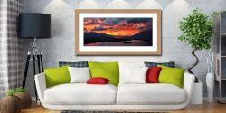 Blazing Skies Over Derwent Water - Framed Print with Mount on Wall