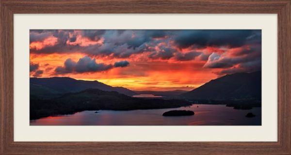 Blazing Skies Over Derwent Water - Framed Print with Mount