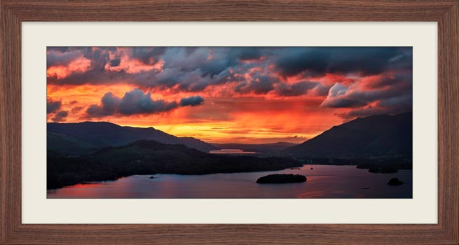 Blazing Skies Over Derwent Water - Framed Print