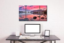 Pink Skies Derwent Water - 3 Panel Canvas on Wall