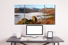 Langdale Valley Cloud Inversion - 3 Panel Wide Centre Canvas on Wall
