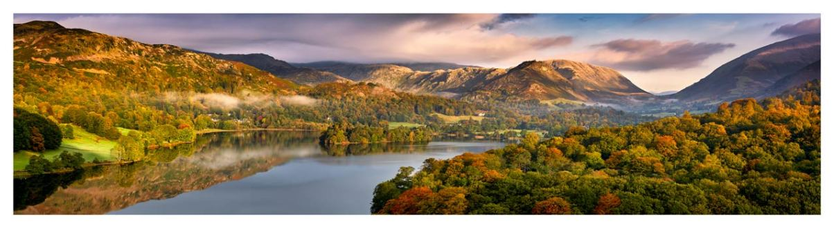 Grasmere Autumn Morning Panorama - Lake District Print