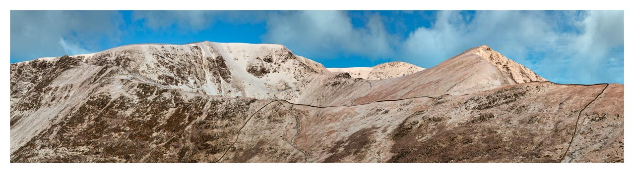 Snow Capped Helvellyn Mountains - Lake District Print