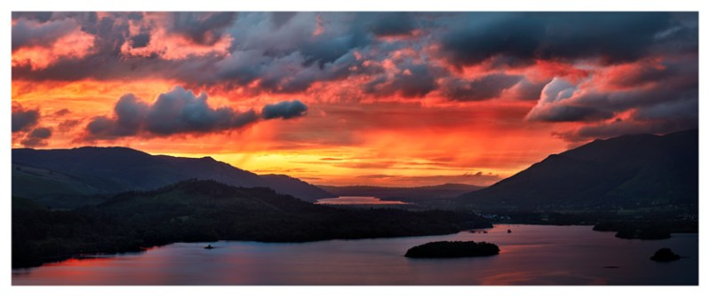 Blazing Skies Over Derwent Water - Lake District Print