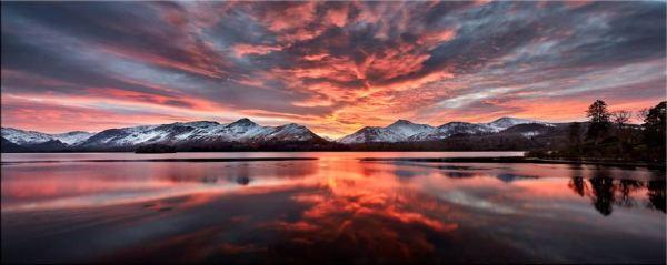 Red Skies Over Derwent Water - Canvas Print