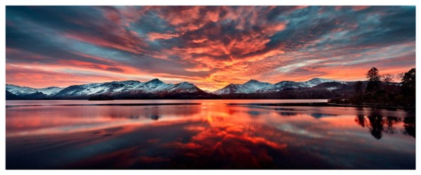Red Skies Over Derwent Water - Lake District Poster