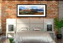 Buttermere Winter Panorama - Framed Print with Mount on Wall