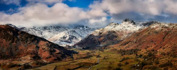 Langdale Valley Winter Panorama - Canvas Print