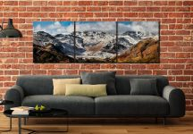 Snow on Crinckle Crags and Bow Fell - 3 Panel Canvas on Wall
