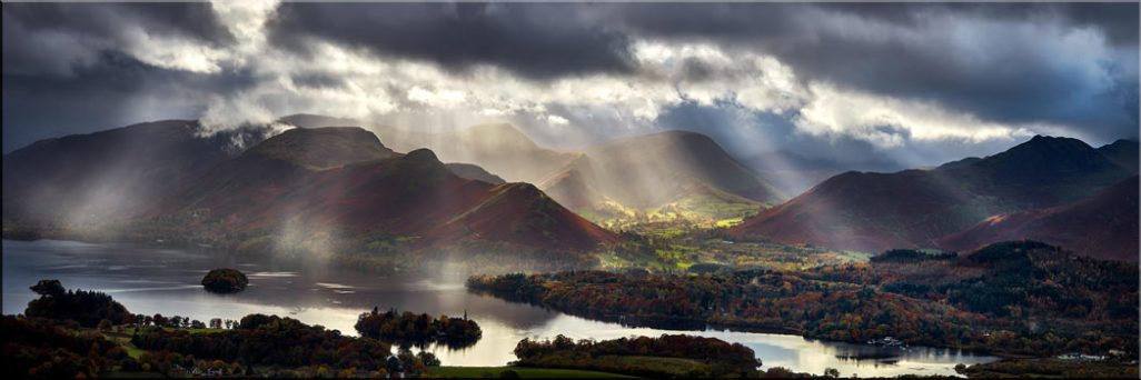 Sunbeams Over the Derwent Fells - Canvas