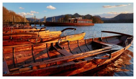 Golden Boats at Dusk - Lake District Print