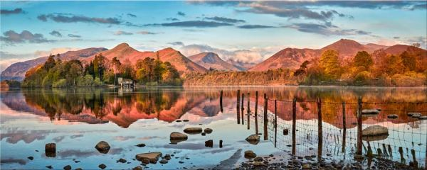 Derwent Water Red Mountains - Canvas Print