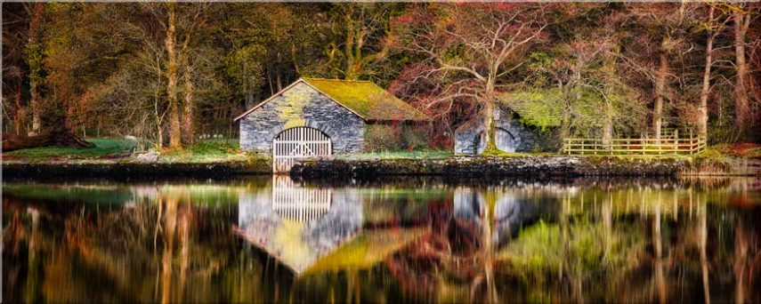 Coniston Boathouse Reflections - Lake District Canvas