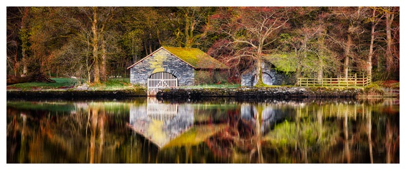 Coniston Boathouse Reflections - Lake District Print