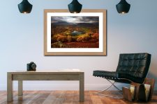 Loughrigg Tarn in Autumn - Framed Print with Mount on Wall
