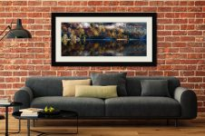 Rydal Water in Autumn - Framed Print with Mount on Wall