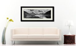 Dark Skies Over Wast Water Black White - Framed Print with Mount on Wall