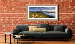 Cat Bells Panoramic View - Framed Print with Mount on Wall