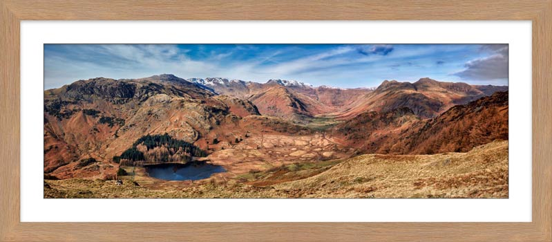 Lingmoor Fell Panorama - Framed Print with Mount