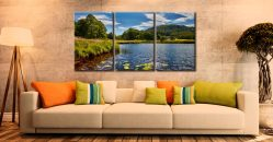 River Brathay Summers Afternoon - 3 Panel Canvas on Wall