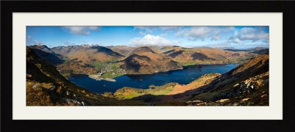 Ullswater and Glenridding Panorama - Framed Print with Mount