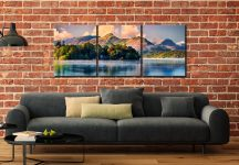 Morning Mists Around Derwent Isle - 3 Panel Wide Mid Canvas on Wall