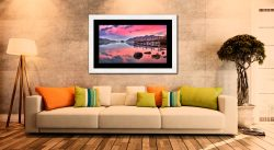 Pink Skies Derwent Water - Framed Print with Mount on Wall