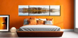 Misty Morning at Esthwaite Water - 3 Panel Wide Centre Canvas on Wall