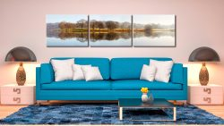 Misty Morning at Esthwaite Water - 3 Panel Canvas on Wall