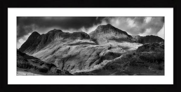 Langdale Pikes Black and White - Framed Print with Mount