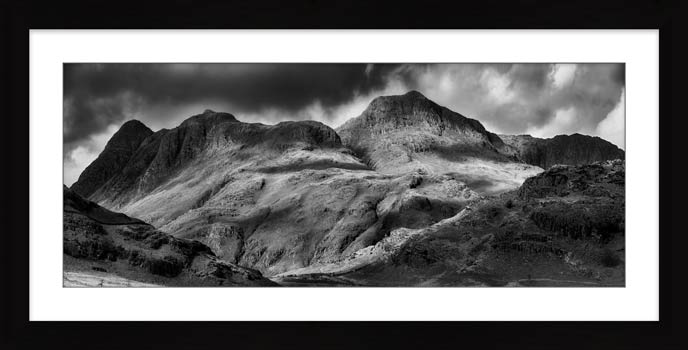 Langdale Pikes Black and White - Framed Print