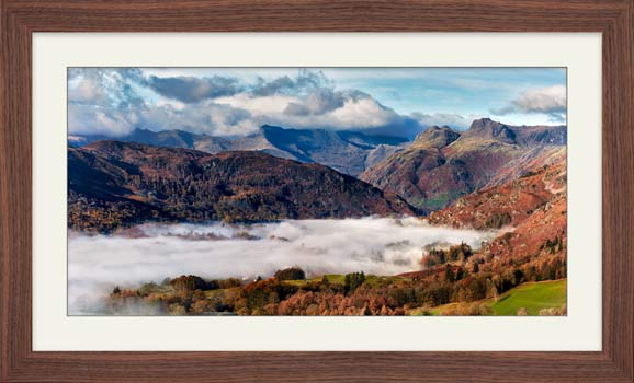 Great Langdale Mountains and Mist - Framed Print with Mount
