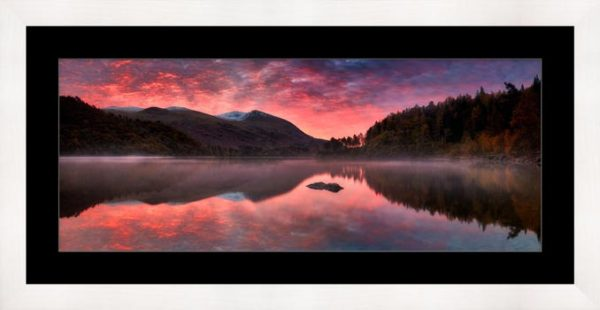 Thirlmere Autumn Sunrise - Framed Print with Mount