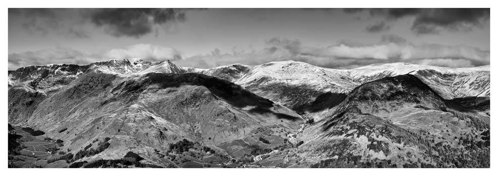 Glenridding Mountains Panorama - Black White Print