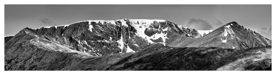 Helvellynn Snow Capped - Black White Print