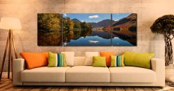Buttermere Autumn Trees - 3 Panel Wide Mid Canvas on Wall