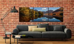 Buttermere Autumn Trees - 3 Panel Canvas on Wall