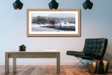 River Brathay Winter Wonderland - Framed Print with Mount on Wall