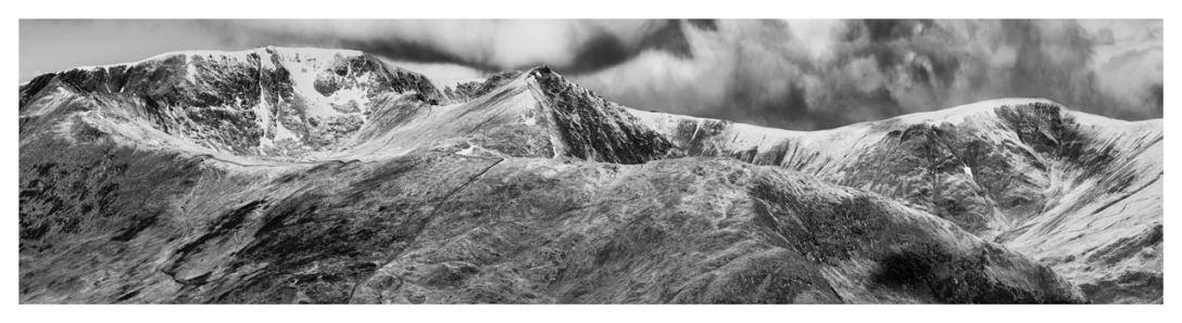 Helvellyn Mountains Range - Black White Print