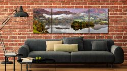 Grasmere Autumn Mists - 3 Panel Wide Mid Canvas on Wall