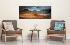 Darkness and Light at Wast Water - 3 Panel Wide Mid Canvas on Wall