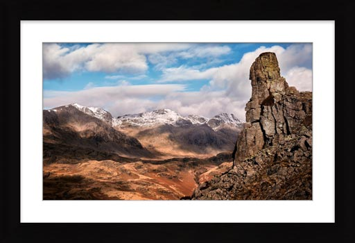 Eskdale Needle in Winter - Framed Print with Mount