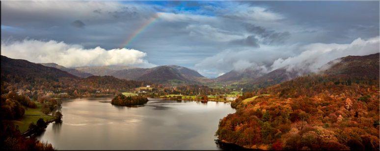 Clouds Mist Rainbow Grasmere - Lake District Canvas