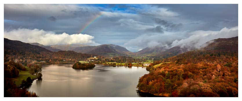 Clouds Mist Rainbow Grasmere - Lake District Print