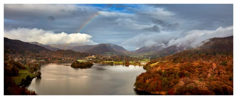 Clouds Mist Rainbow Grasmere - Lake District Print