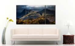 Darkness and Light on the Langdales - 3 Panel Wide Centre Canvas on Wall