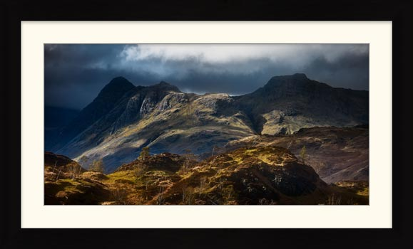 Darkness and Light on the Langdales - Framed Print with Mount