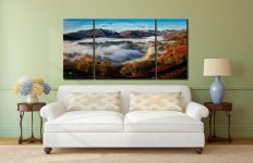 Great Langdale Misty Morning - 3 Panel Wide Centre Canvas on Wall