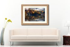 Rydal Water Autumn – Framed Print with Mount on Wall