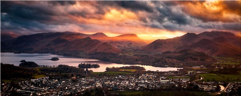 Sun Rays Over Cat Bells - Lake District Canvas